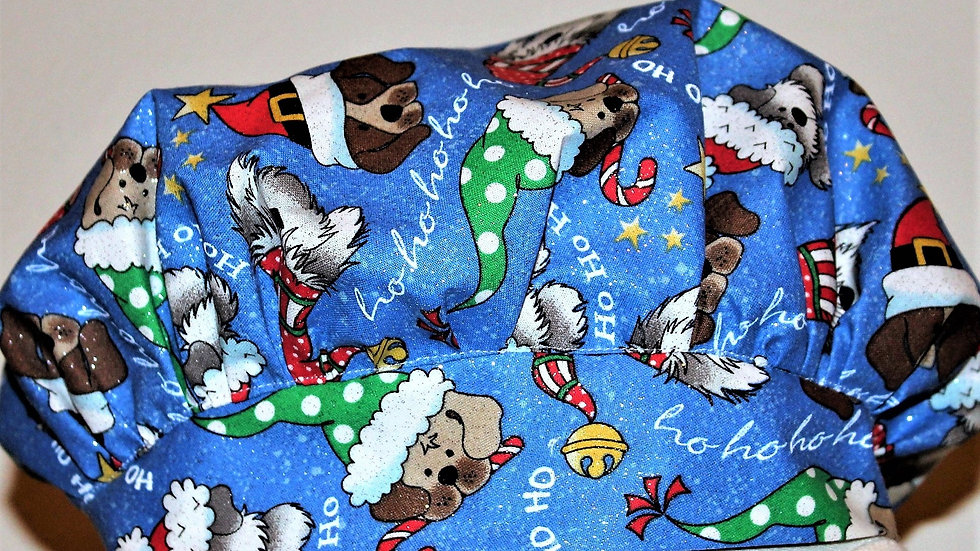 Christmas dog scrub cap surgical scrub caps blue hat