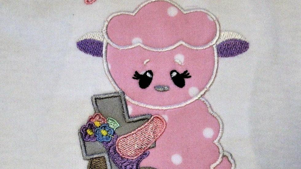Baby girl Easter lamb with cross bodysuit