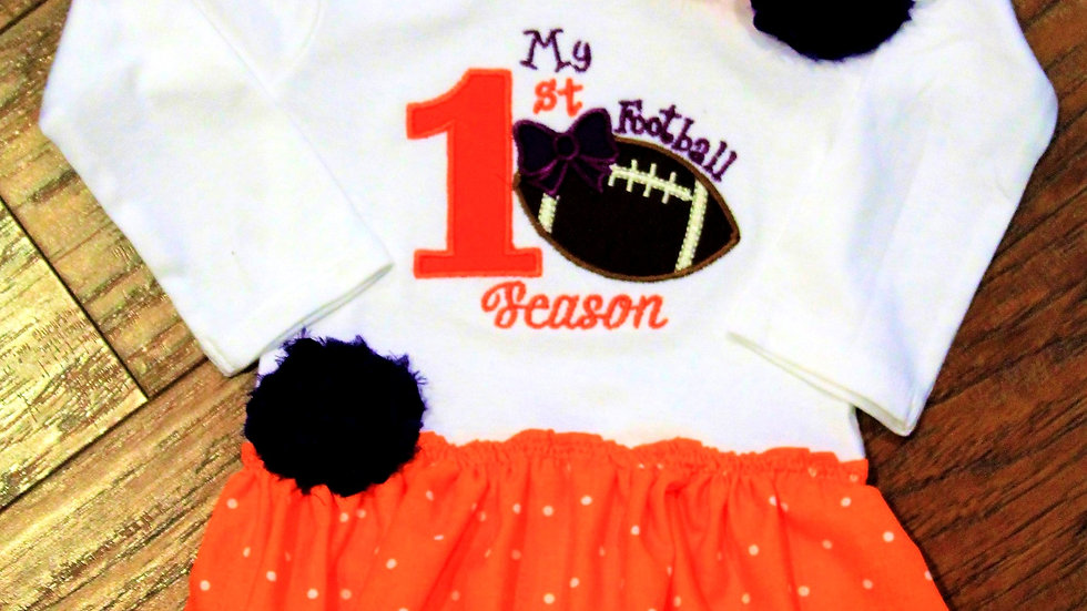 Purple and orange baby girl football dress My 1st football season outfit