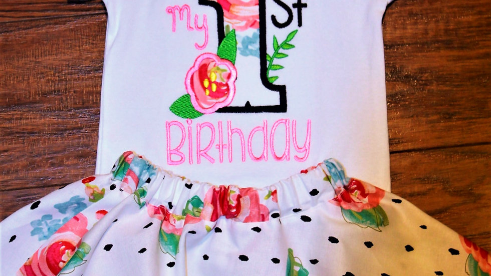 First birthday baby girl outfit 1st birthday outfit floral skirt