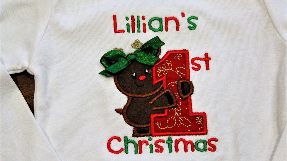 Personalized Rudolph reindeer 1st Christmas bodysuit