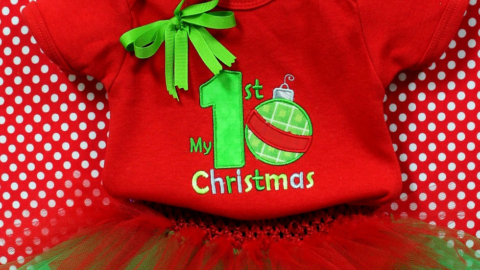 Girl 1st Christmas outfit red and green tutu personalized bodysuit