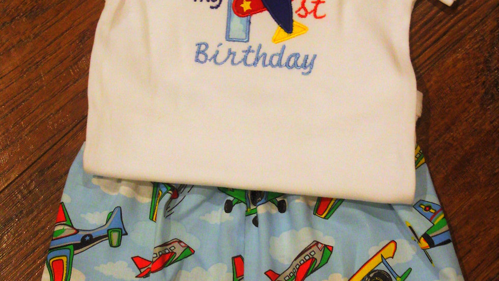 Airplane 1st birthday outfit first birthday airplane shorts