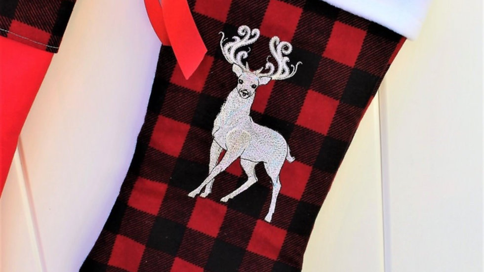 Red and black buffalo check stag Christmas stocking personalized