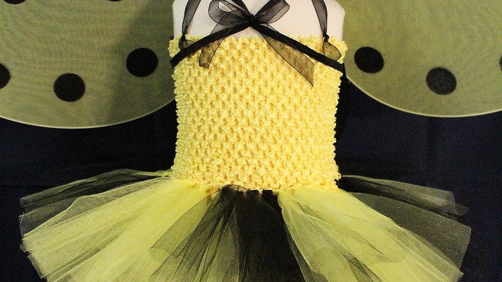 Girl bumble bee Halloween costume baby girl bee costume yellow/black bee wings