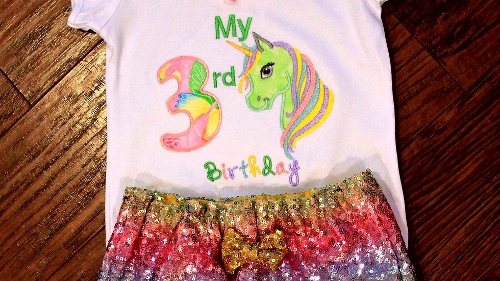 Rainbow sequin Unicorn birthday girl 3rd birthday shirt