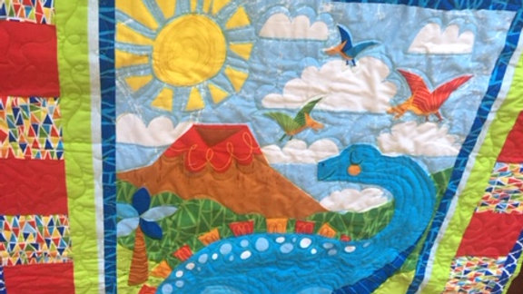 Dinosaur quilt boy quilt in primary colors throw size quilt for boys