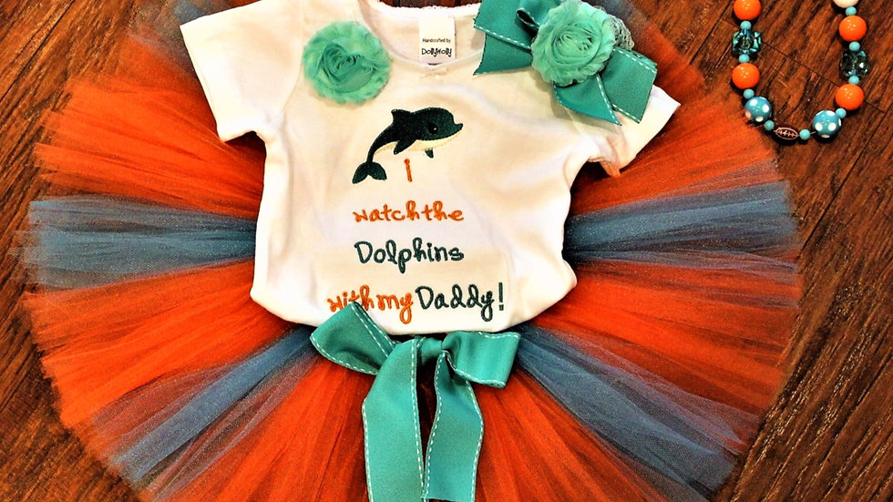 Teal and orange dolphin girl football outfit orange teal tutu necklace