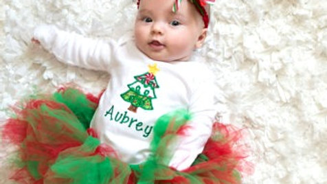 Personalized Christmas tree outfit baby girl Christmas bodysuit red green tutu