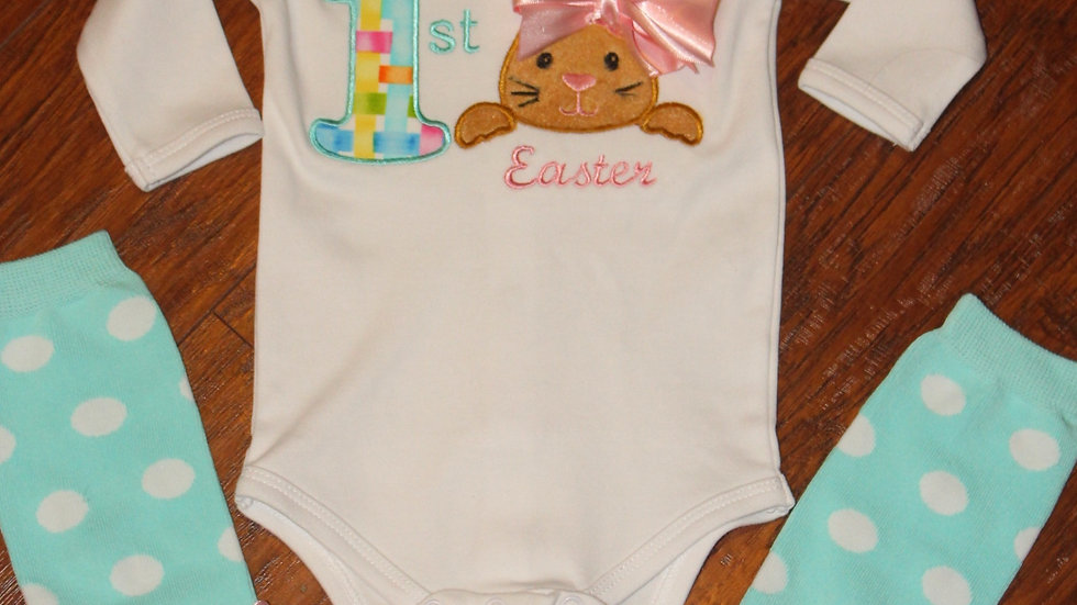 1st Easter baby girl bodysuit, first Easter bunny shirt, Easter necklace