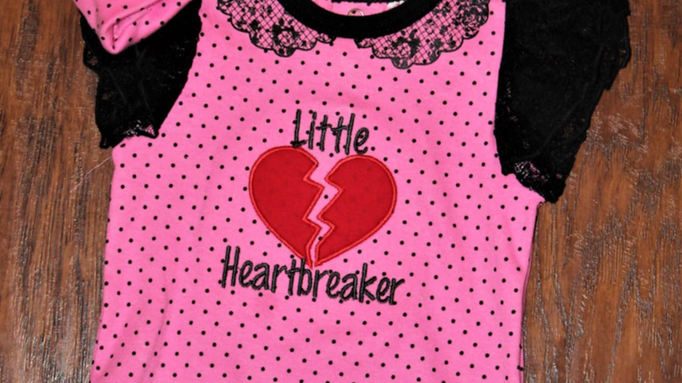 Little Heartbreaker baby girl Valentine's Day bodysuit and matching cap