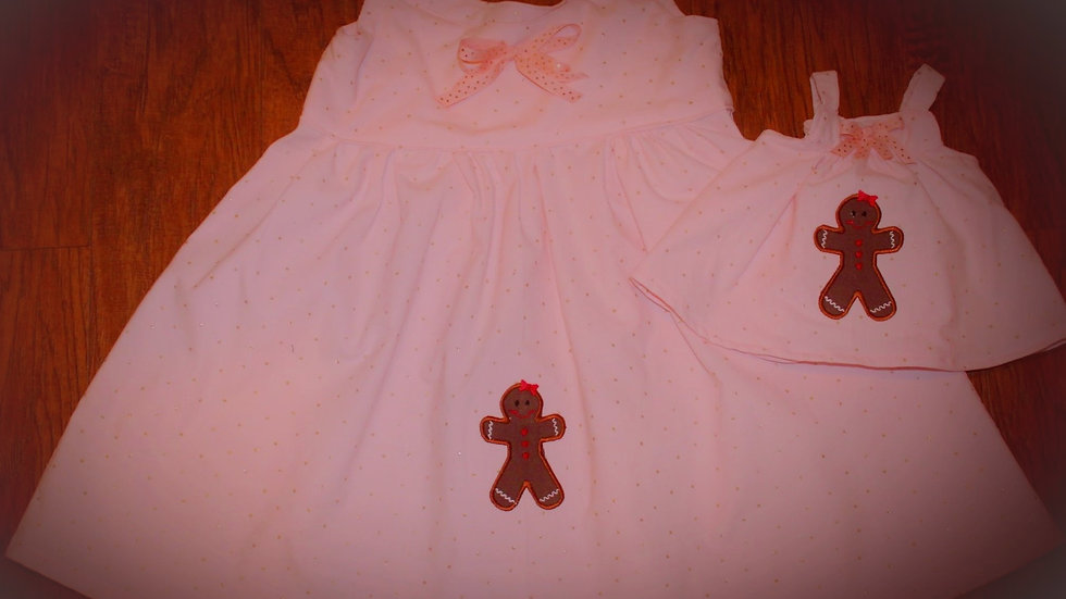 Matching girl and doll Christmas gingerbread pink jumper
