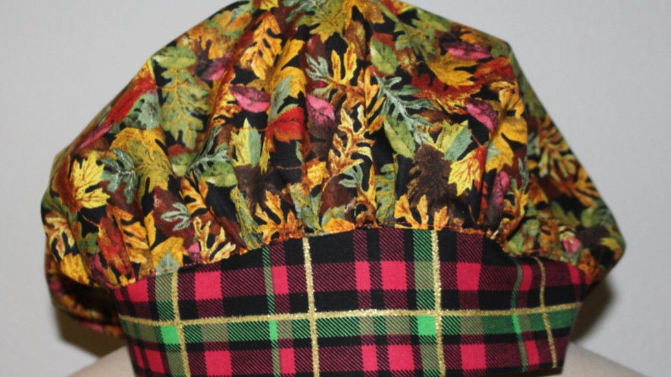 Fall leaves scrub cap, surgical scrub hat, fall color hat