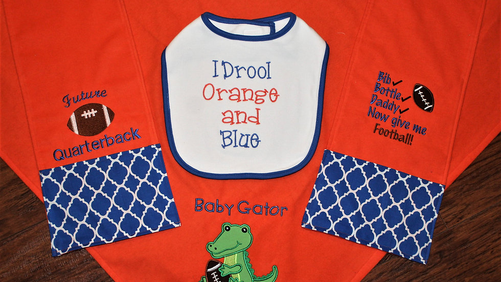 Orange and blue baby boy gift set baby gator blanket burp cloths baby bib