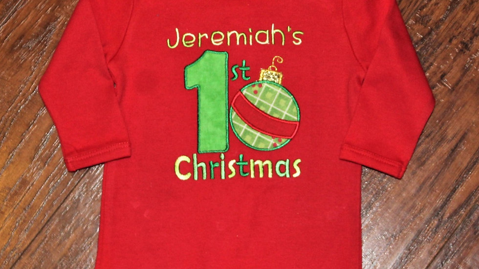 Baby boy personalized 1st Christmas red shirt