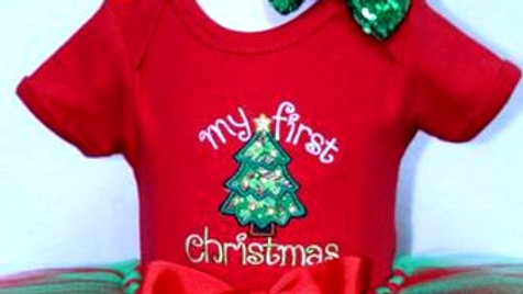 My first Christmas outfit 1st Christmas tree bodysuit red and green tutu