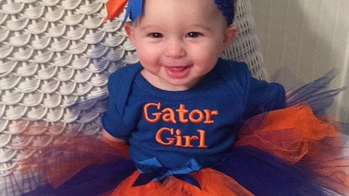 Orange and blue Gator girl football bodysuit, tutu, headband, necklace