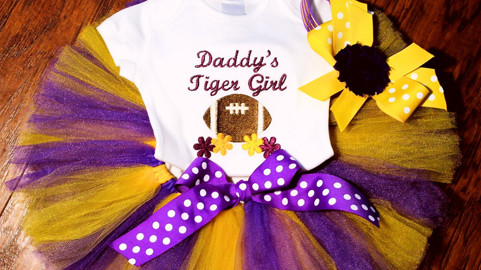 Purple and Gold Football baby girl Sports outfit