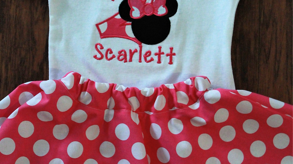 Pink and white polka dot I'm Twodles Mouse 2nd birthday outfit second birthday