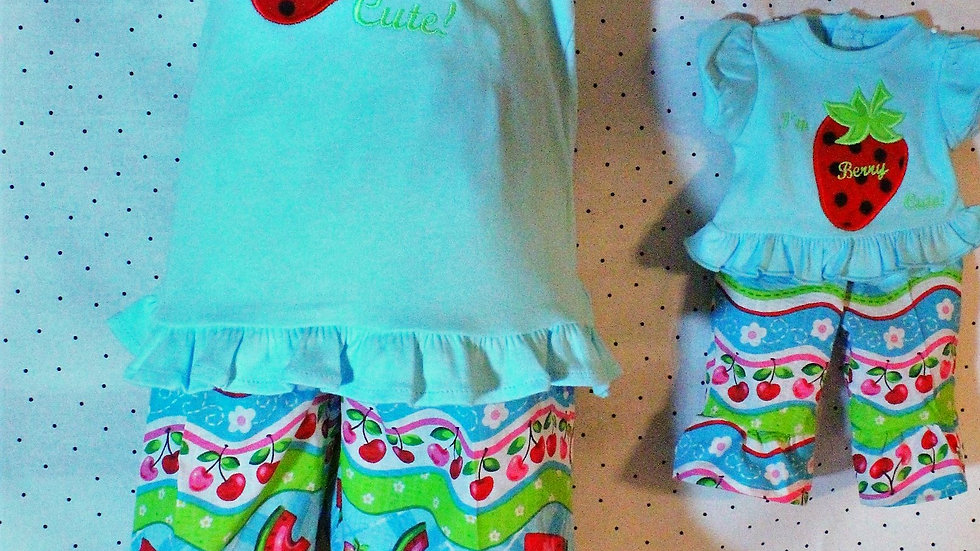 "Matching clothes for girl and doll 18"" doll clothes blue shirt"