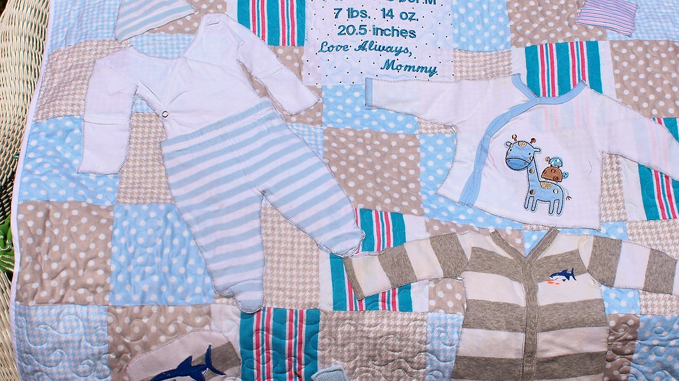 Crib size 1st year memory baby clothes quilt from baby clothes personalized