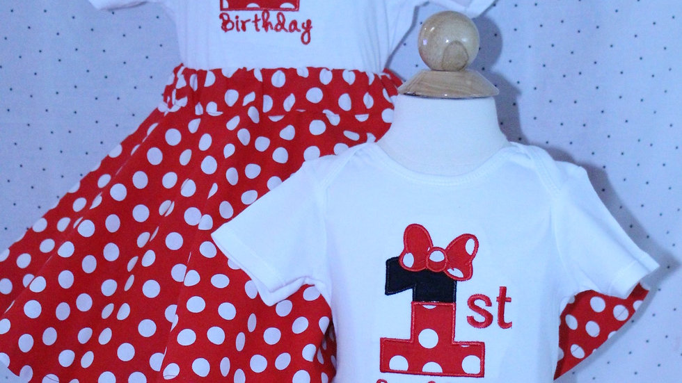 Mouse 1st or 2nd birthday outfit red and white polka dot Minnie skirt