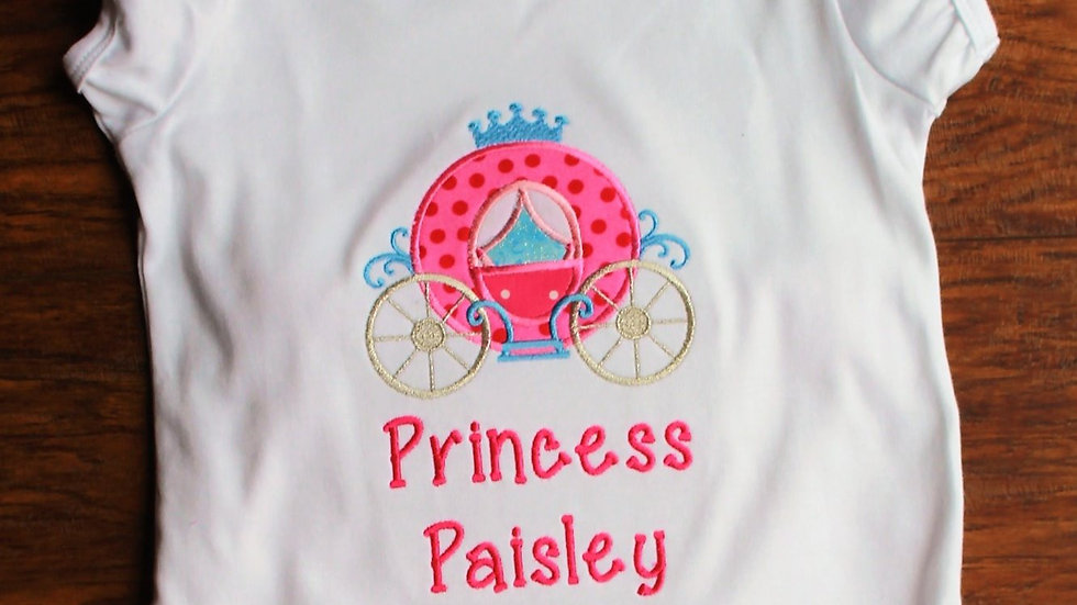 Girl personalized puff sleeve Princess carriage ruffled shirt