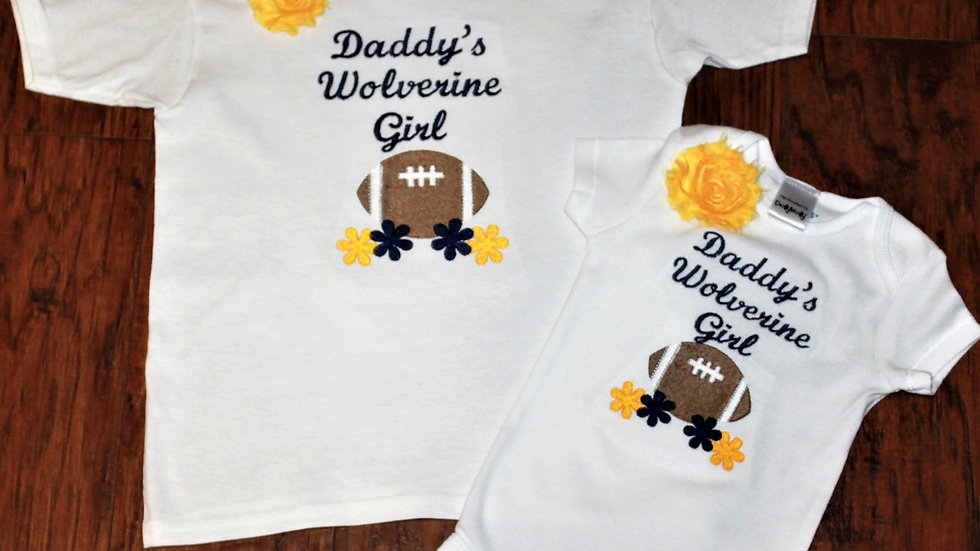 Sibling shirts Daddy's Wolverine girl shirt or bodysuit navy blue and maize