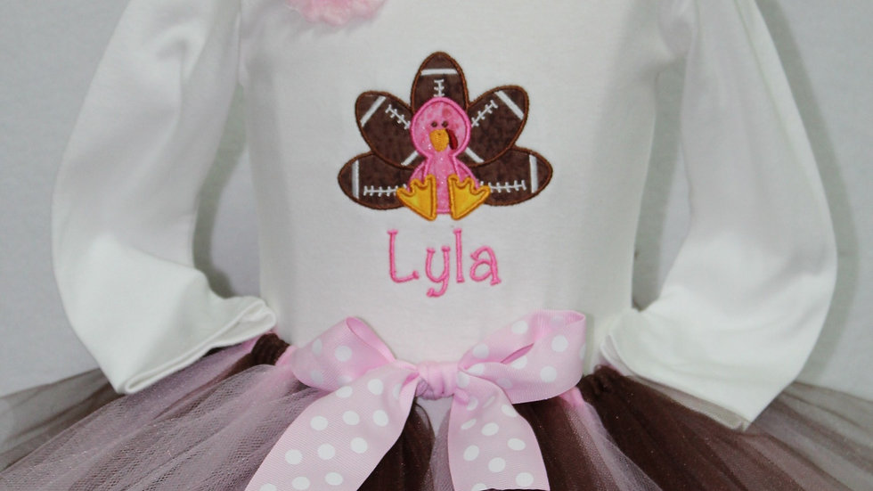 Thanksgiving football turkey personalized outfit brown and pink tutu