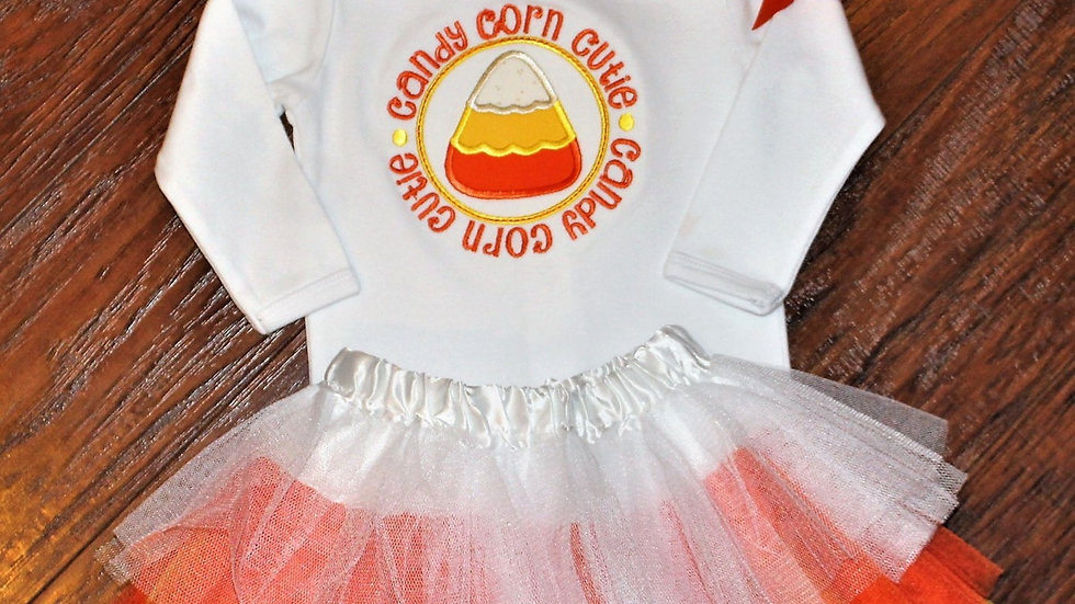 Candy corn color baby girl tutu candy corn cutie bodysuit and headband