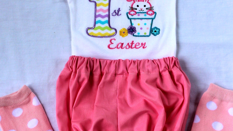 1st Easter outfit Easter bunny bodysuit pink bloomers pink leggings