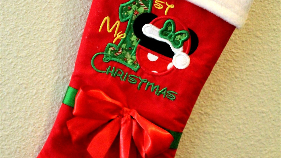 Mouse personalized 1st Christmas stocking baby girl first Christmas stockings