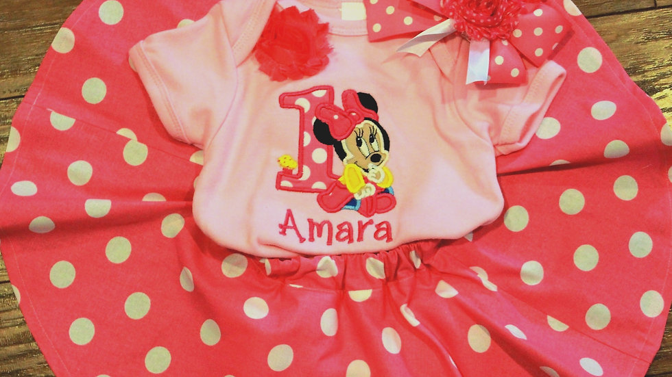 Baby Mouse 1st birthday pink and white polka dot outfit Mouse skirt