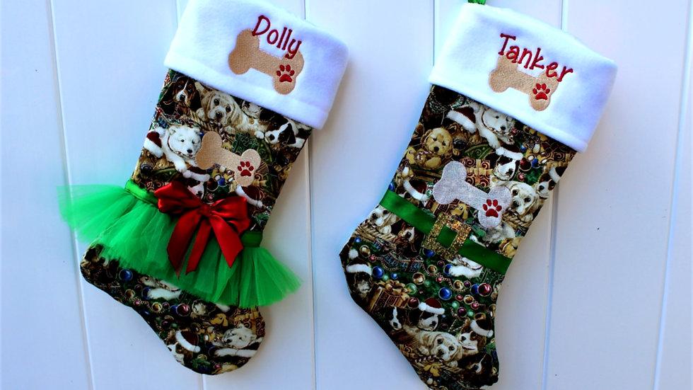 Personalized dog Christmas stocking dog bone Christmas stockings