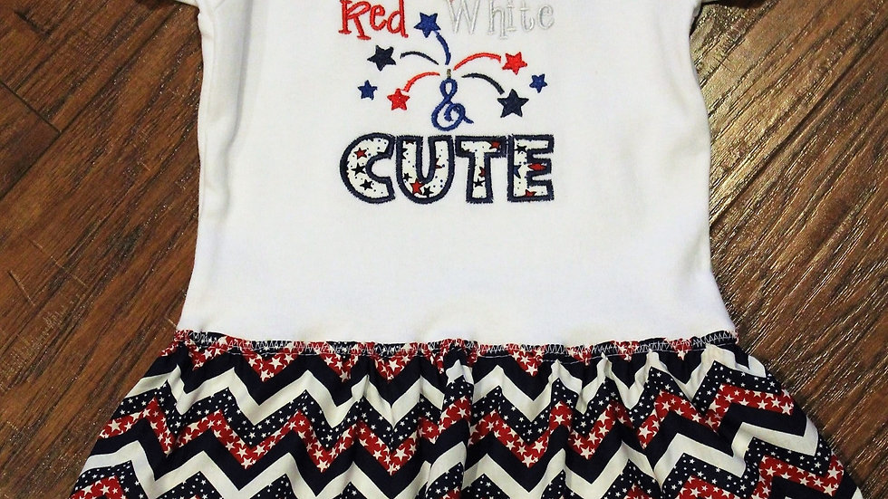 Red white and cute 4th of July dress Independence Day dress