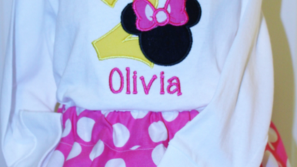 Mouse I'm Twodles 2nd birthday shirt and hot pink and white polka dot skirt