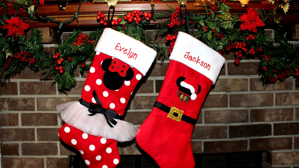 Boy mouse girl mouse Christmas stocking personalized Christmas stockings