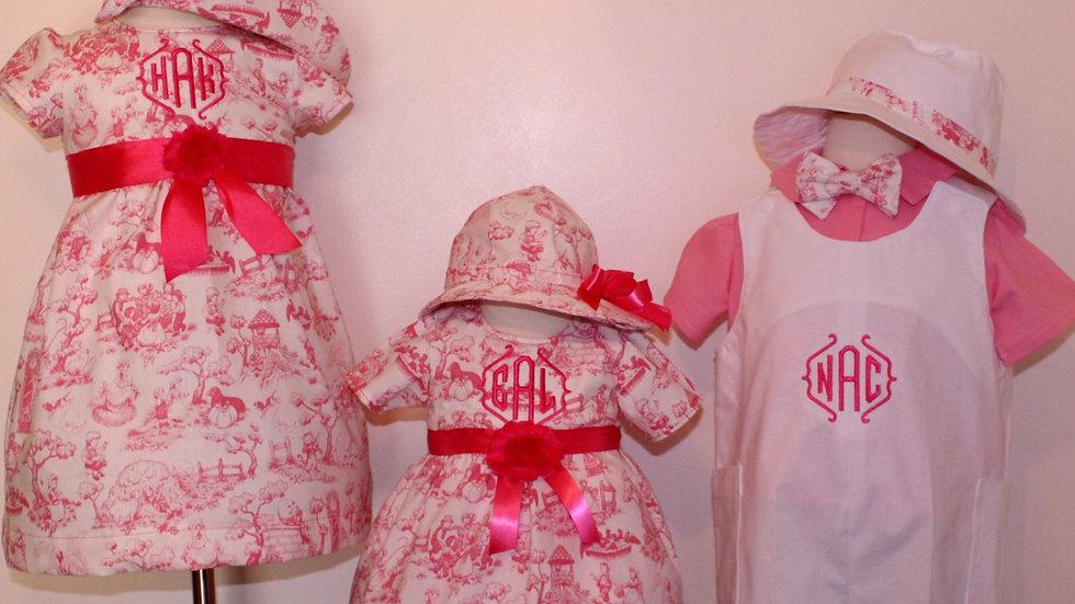 Sibling clothes Pink Easter dress toddler Easter dress boy romper monogrammed