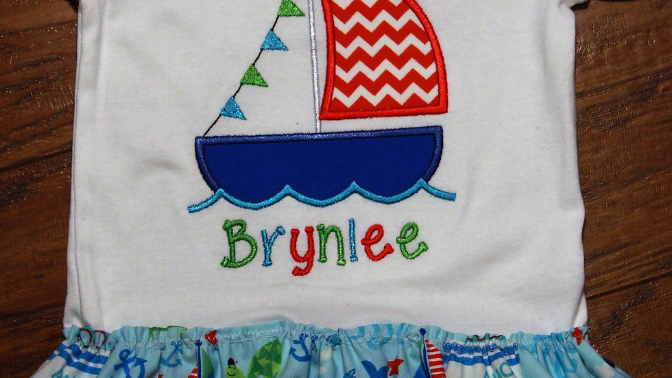 Baby girl personalized nautical sailboat bodysuit dress