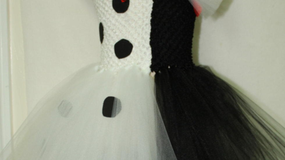 Cruella Halloween Costume Deville dalmatian girls black and white tutu dress