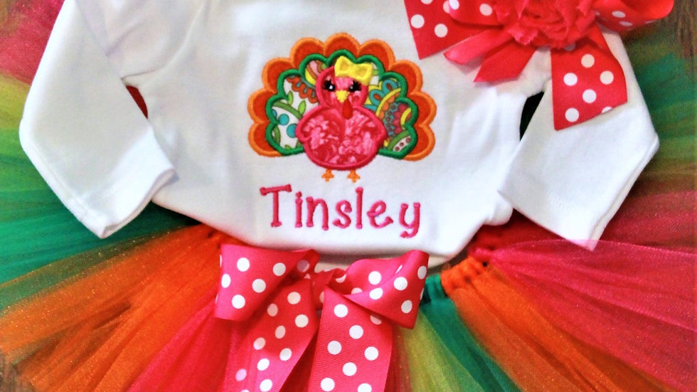 Personalized baby girl Thanksgiving outfit turkey bodysuit hot pink tutu