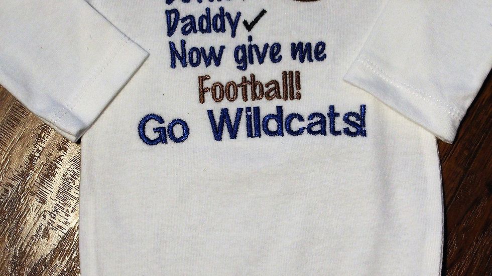 Blue and white Wildcat baby boy or girl football bodysuit