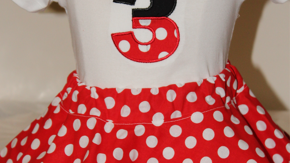 Girl 3rd birthday outfit, third birthday shirt, Minnie birthday red and white