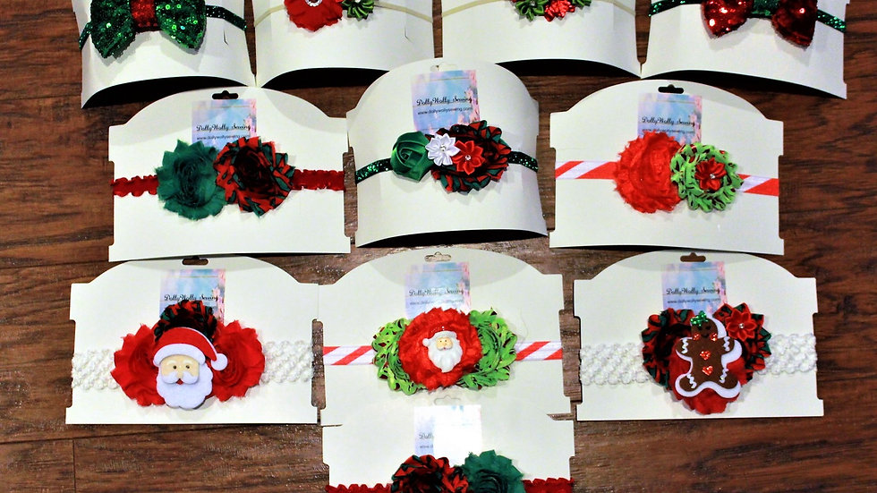 Girl Christmas red and green stretch headbands