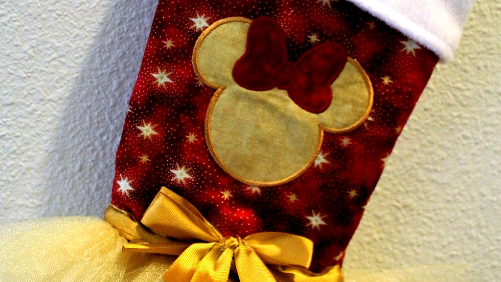 Maroon and gold Mouse Christmas stocking personalized stocking with tutu