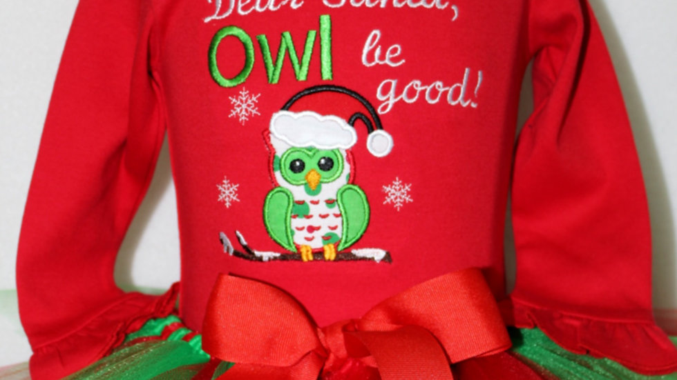 Dear Santa Owl be good! Baby girl Christmas outfit red and green tutu