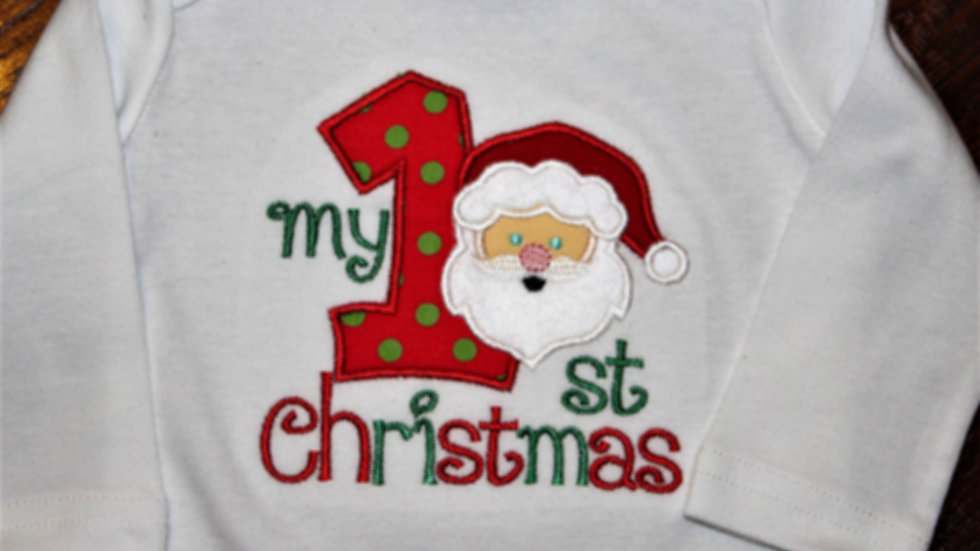 My 1st Christmas Santa bodysuit personalized Christmas  shirt