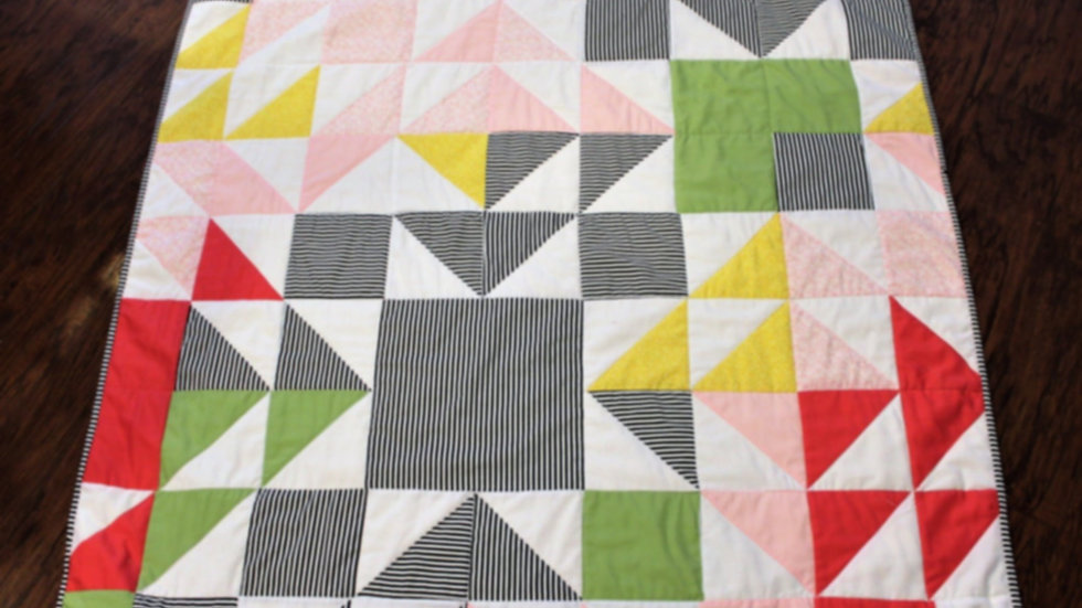 Modern contemporary baby girl quilt handmade patchwork quilts