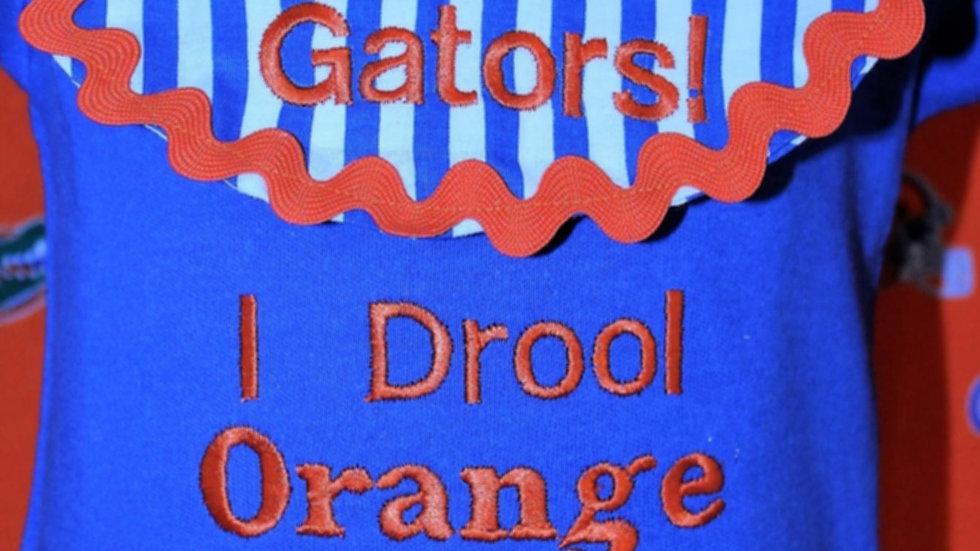 I Drool orange and blue baby boy blue football bodysuit
