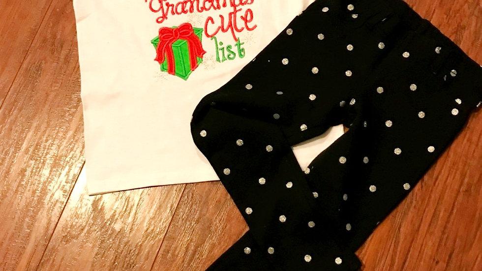 Girls Christmas outfit girl Christmas shirt black silver leggings